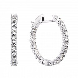 Серьги-конго из белого золота с бриллиантами, 23мм 000136636