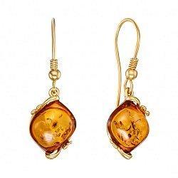 Серебряные серьги-подвески с янтарем и позолотой 000139187