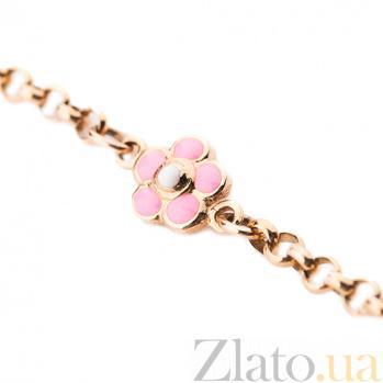 Золотой браслет с цветной эмалью Розовые сны ONX--б01943