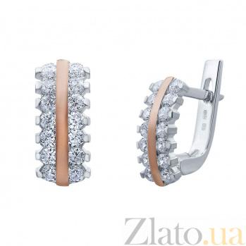 Серебряные серьги с золотой пластиной и фианитами Лунная дорожка AQA--Г0207С