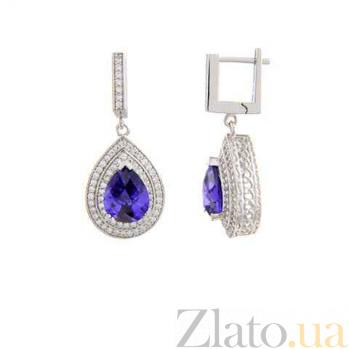 Серьги серебряные с большим фиолетовым цирконом Ария AQA--SJT-704-EA