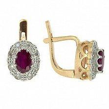 Серьги из красного золота с рубинами и бриллиантами Габриэлла