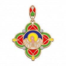 Золотой подвес Благостный ангел с жемчугом и эмалью