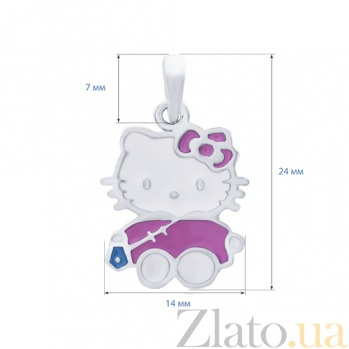 Серебряный кулон с цветной эмалью Hello Kitty AQA--3679э