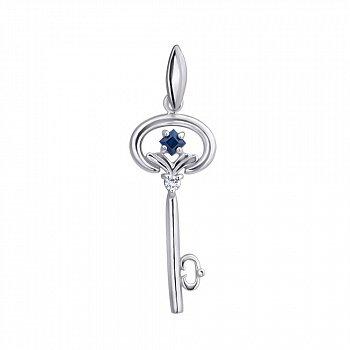 Серебряный подвес Ключик к сердцу с сапфиром и бриллиантом 000022238