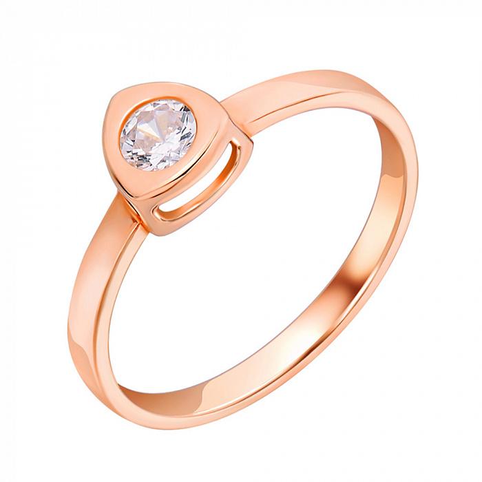 Золотое кольцо Полина в красном цвете с кристаллом циркония 000080782