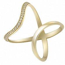 Золотое кольцо на фалангу с фианитами Киприотис