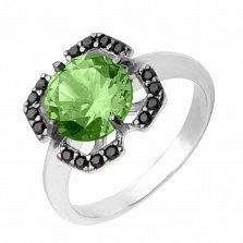 Серебряное кольцо Ноэль с зеленым кварцем и черными фианитами