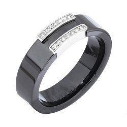 Кольцо из серебра и черной керамики с фианитами 000035147