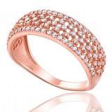 Золотое кольцо с множеством фианитов Джана