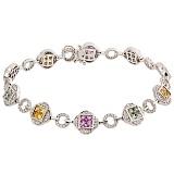 Золотой браслет Букет с цветными сапфирами и бриллиантами