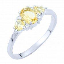 Серебряное кольцо Амани с цитрином и фианитами