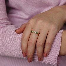 Золотое кольцо Милена с изумрудами и бриллиантами