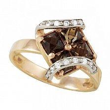 Золотое кольцо Доротея с раухтопазами и фианитами