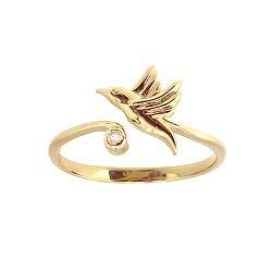 Кольцо из красного золота Колибри с бриллиантом
