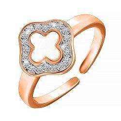 Серебряное кольцо с позолотой и фианитами 000052246