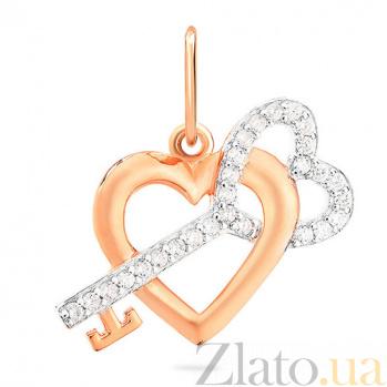 Кулон из комбинированного золота с фианитами Ключ к сердцу SUF--421805