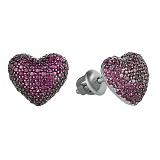 Серебряные серьги Блестящее сердечко с цирконием цвета рубина