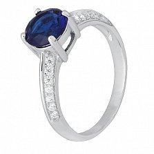 Серебряное кольцо с синим фианитом Джуда
