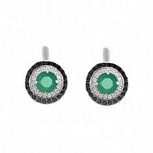 Серебряные серьги Миамо с зеленым агатом и черным и белым цирконием