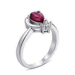 Серебряное кольцо с рубином и фианитами 000132130