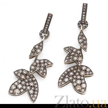 Серьги Hera с коньячными бриллиантами E-Stern-E-128d