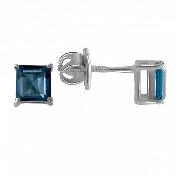 Серебряные серьги- пусеты с лондон топазом 000150581