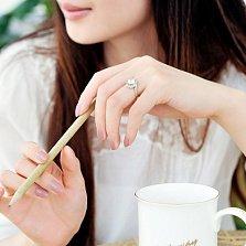 Помолвочное кольцо Любовный вихрь в желтом золоте с бриллиантом 1ct в крапанах-сердцах