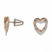 Серьги-пуссеты из комбинированного золота Созвучие сердец с бриллиантами