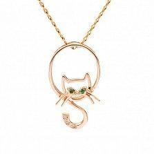 Золотая подвеска Кошечка с глазами-изумрудами и бриллиантами на хвосте