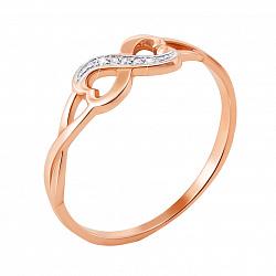 Кольцо в красном золоте Бесконечность с бриллиантами