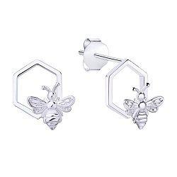 Серебряные серьги-пуссеты Пчелки на сотах 000113723