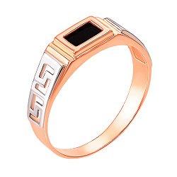 ДубльЗолотой перстень-печатка с черным ониксом 000104107