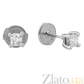 Серьги-пуссеты в белом золоте с бриллиантами Астра ПП-2