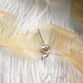 Серебряная подвеска Ключик к сердцу с рубином и бриллиантом ZMX--PDR-6711-Ag_K