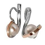 Серебряные серьги с белым жемчугом и золотой вставкой Леди