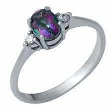 Серебряное кольцо Загадка с мистик топазом и фианитами