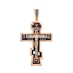Православный крестик из красного золота с чернением 000130854