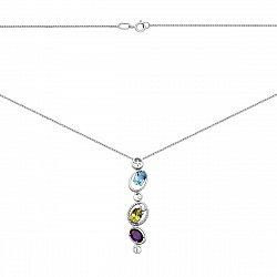 Колье из белого золота с аметистом, хризолитом, голубым топазом и фианитами с родированием 000131551