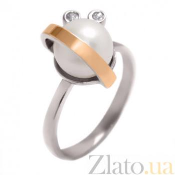 Серебряное кольцо с жемчугом и золотой вставкой Белиссимо BGS--322к