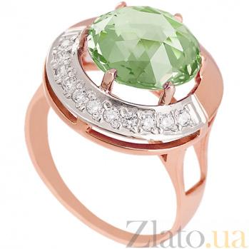 Золотое кольцо Юмалия с синтезированным аметистом и фианитами 000029479