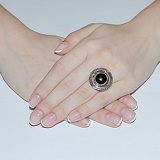 Серебряное кольцо Джоконда с золотом и авантюрином