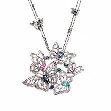 Колье из белого золота с бриллиантами и цветными драгоценными камнями Butterflies