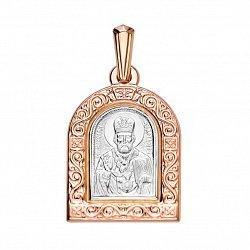 Ладанка из красного золота с родированием Николай Чудотворец 000135110