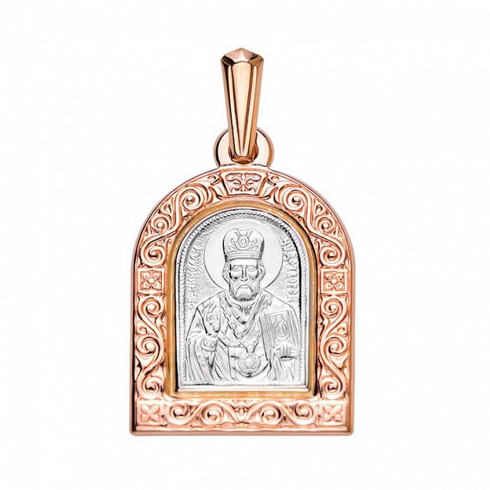 Ладанка из красного золота с родированием Николай Чудотворец 000135110 000135110
