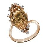 Кольцо из красного золота Мария с бриллиантами и цитрином