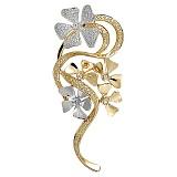 Брошь из белого и желтого золота с бриллиантами Утонченность