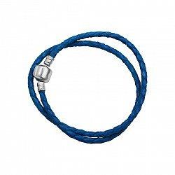 Браслет из серебра и синей плетеной кожи  000082055