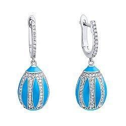 Серебряные серьги-подвески с фианитами и голубой эмалью 000136292