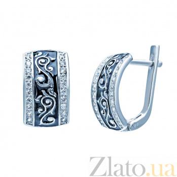 Серебряные серьги с эмалью и фианитами Люсинда 000027001